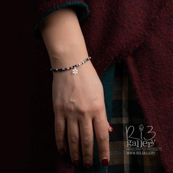 دستبند طلای زنانه برفی | دارای 0.190 گرم طلا ریسه
