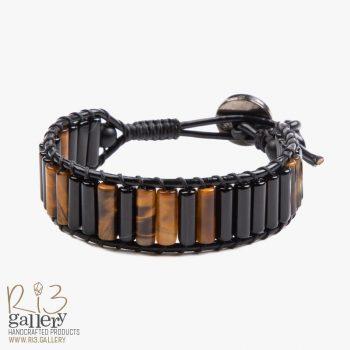 دستبند مردانه چشم ببر و عقیق