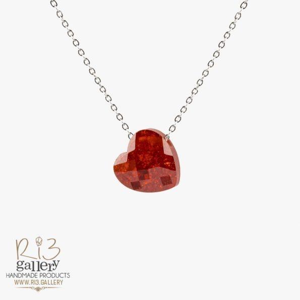 گردنبند نقره زنانه جید طرح نماد قلب