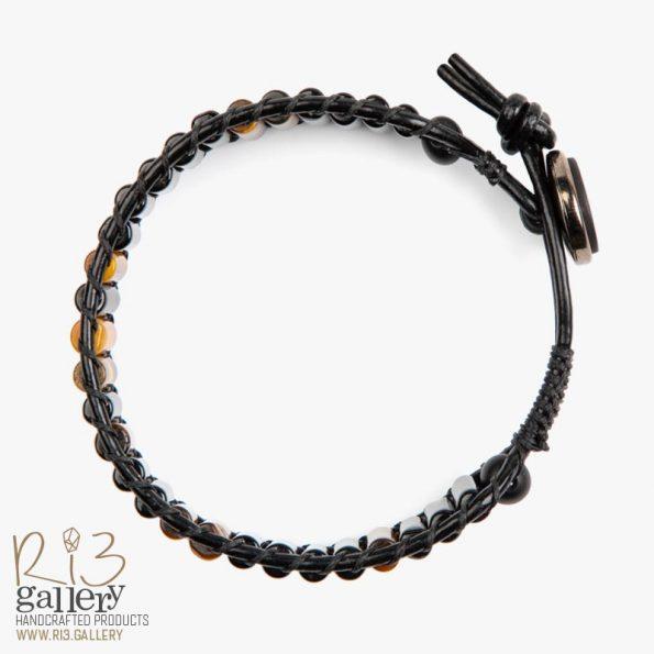 خرید آنلاین دستبند مردانه چشم ببر و عقیق