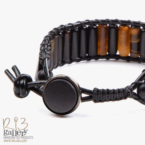 خرید آنلاین دستبند مردانه چشم ببر و عقیق ریسه گالری