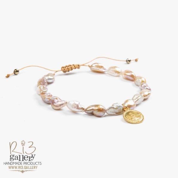 خرید آنلاین فروشگاه ربسه گالری دستبند زنانه طلا طرح سکه