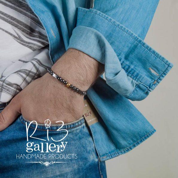 دستبند گوی طلا مردانه و حدید