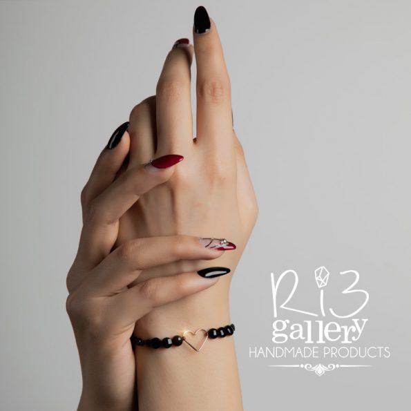 دستبند طلا زنانه طرح قلب فروشگاه اینترنتی ریسه گالری