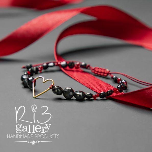 دستبند طلا زنانه طرح قلب فروش انواع دستبند در ریسه گالری