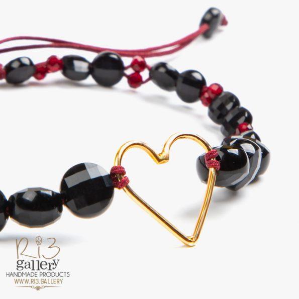 دستبند طلا زنانه طرح قلب دارای 0.400 گرم طلا