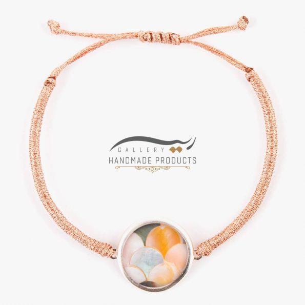 عکس دستبند صدف با طرح پولکی رزگلد