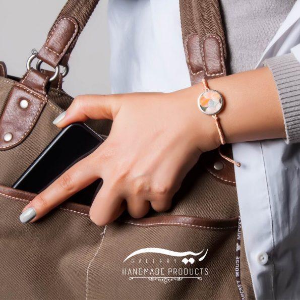 مدل دستبند صدف با طرح پولکی رزگلد