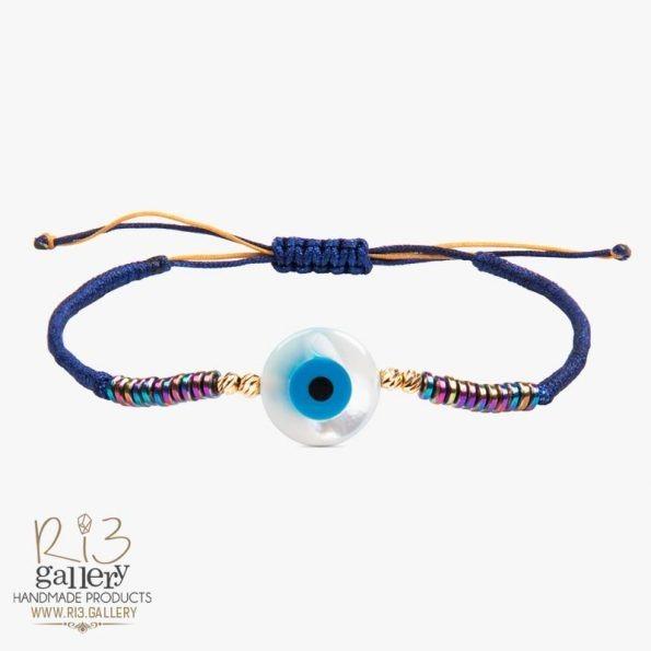 دستبند طلا زنانه چشم نظر رنگین کمانی