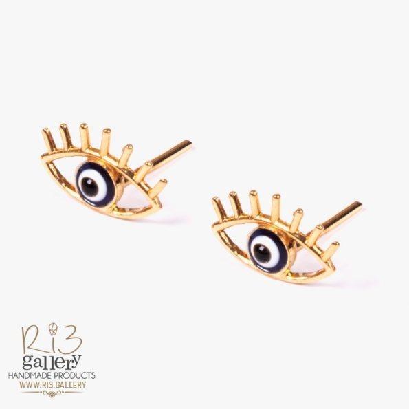 گوشواره طلا زنانه چشم نظر دارای یک گرم طلا | استفاده از نماد در زیورآلات نماد چشم نظر