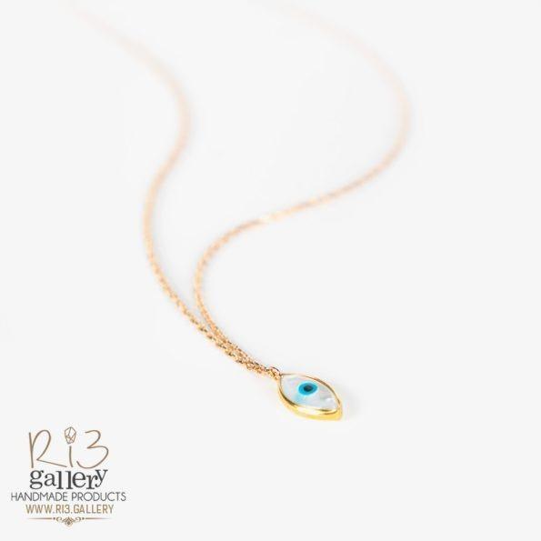 گردنبند طلا زنانه چشم نظر صدفی | استفاده از نماد در زیورآلات نماد چشم نظر