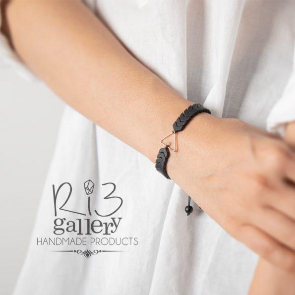 دستبند طلا زنانه حدید و لابرادوریت فروشگاه زیورآلات ریسه گالری