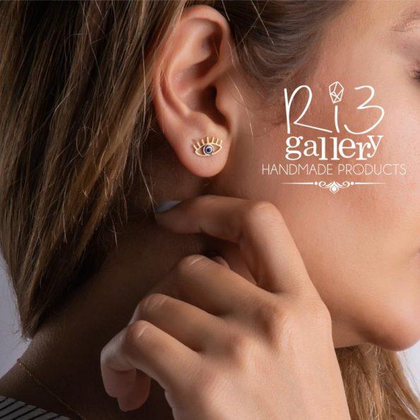 گوشواره طلا زنانه چشم نظر ریسه گالری | استفاده از نماد در زیورآلات نماد چشم نظر