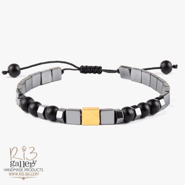 دستبند طلا مردانه مکعب