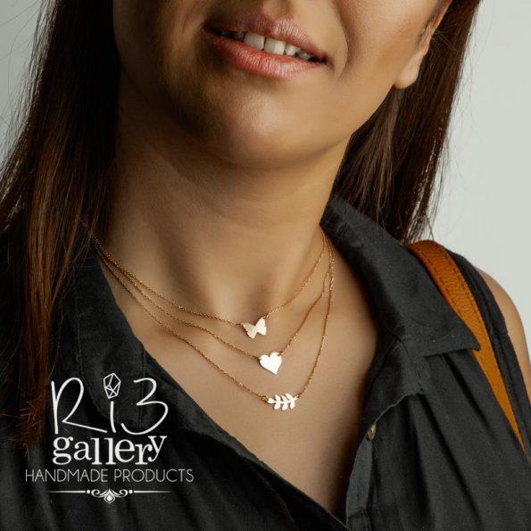 آنلاین گردنبند طلا زنانه پلاک قلب ریسه گالری