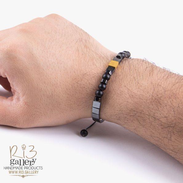 دستبند طلا مردانه مکعب فروشگاه اینترنتی ریسه گالری