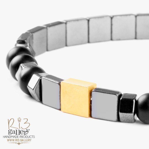 فروشگاه دستبند طلا مردانه مکعب ریسه گالری