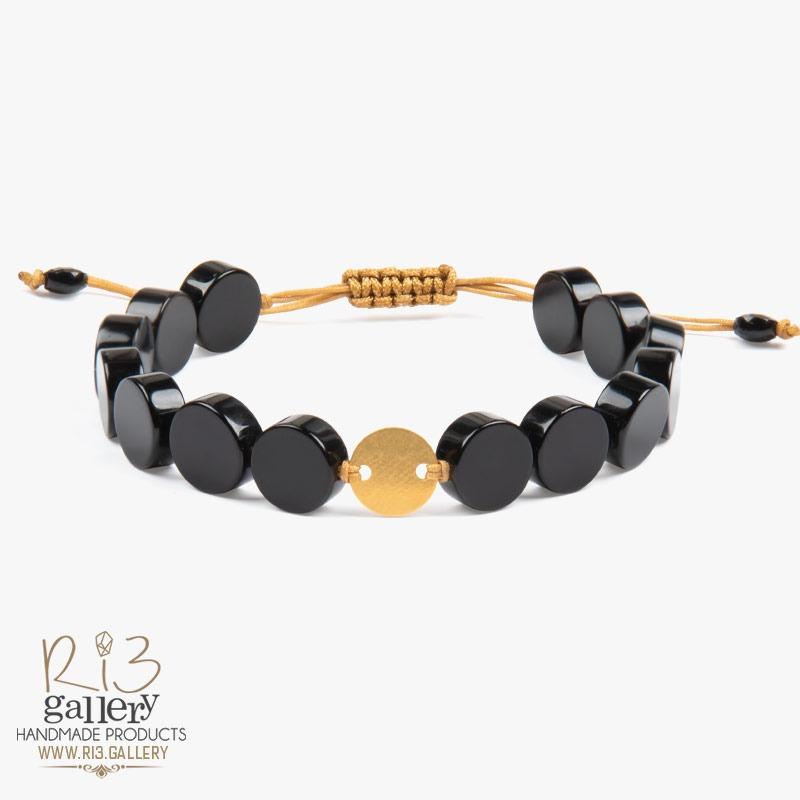 دستبند طلا زنانه عقیق گرد سنگ ماه تولدفروردین
