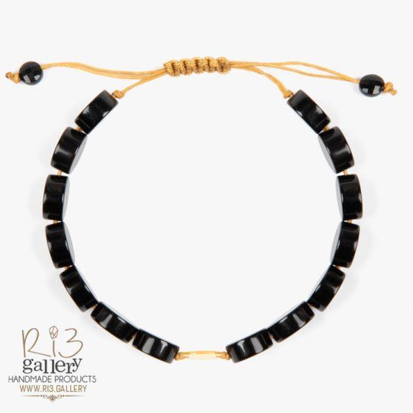 دستبند طلا زنانه عقیق گرد 0.350 گرم طلا