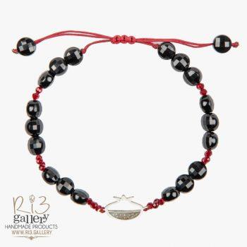 خرید و سنگ ماه تولد مرداد دستبند نقره زنانه اناردون عقیق