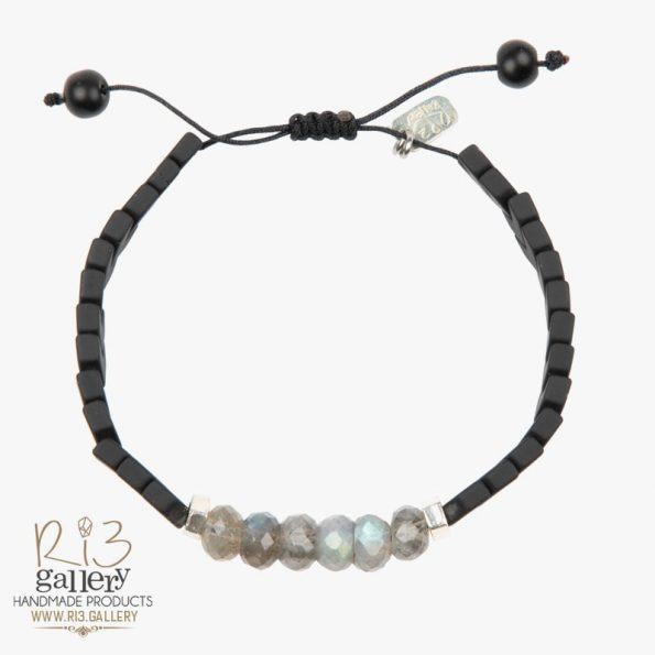 دستبند نقره زنانه لابرادورایت حدید اونیکس