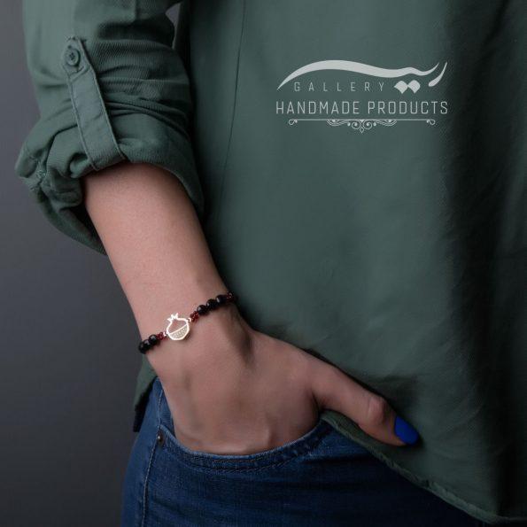 دستبند نقره زنانه اناردون ، عقیق