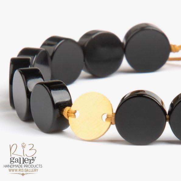 دستبند طلا زنانه عقیق گرد زیورآلات ریسه گالری