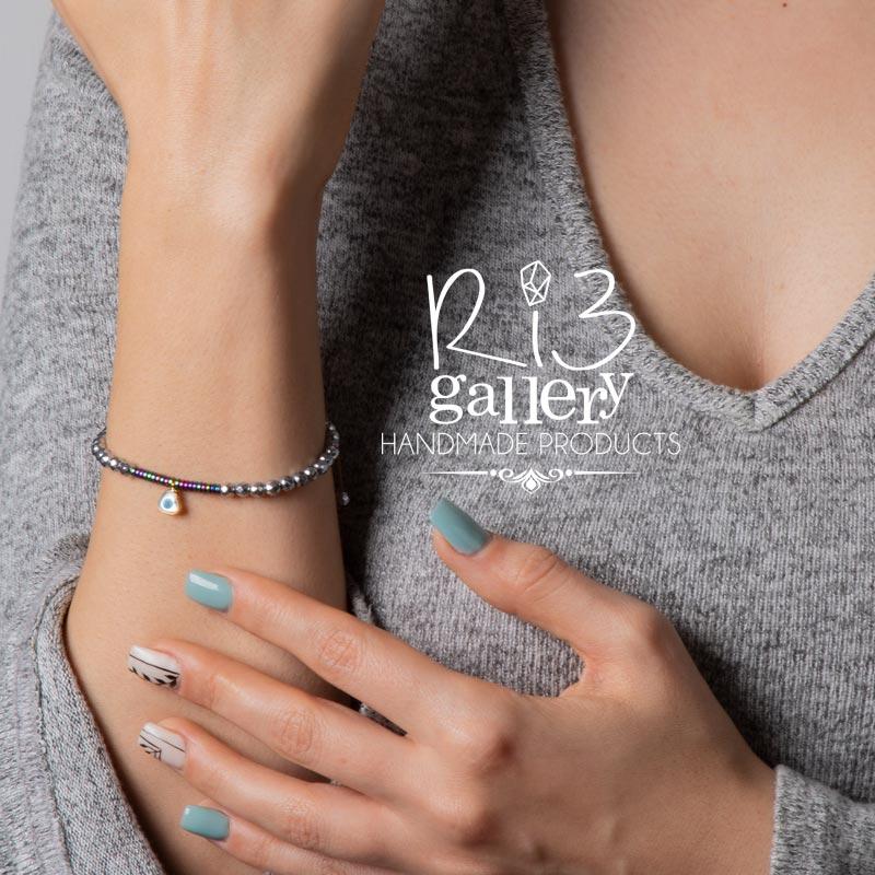 دستبند طلا زنانه آویز چشم نظر | ریسه گالری