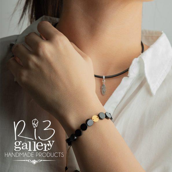 دستبند طلا زنانه عقیق گرد ریسه گالری فروشگاه