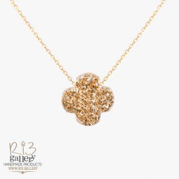 گردنبند طلا زنانه ژئود طرح ونکلیف طلایی