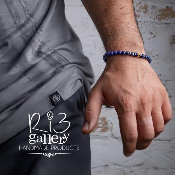 دستبند طلا مردانه لاجورد فروشگاه اینترنتی ریسه گالری