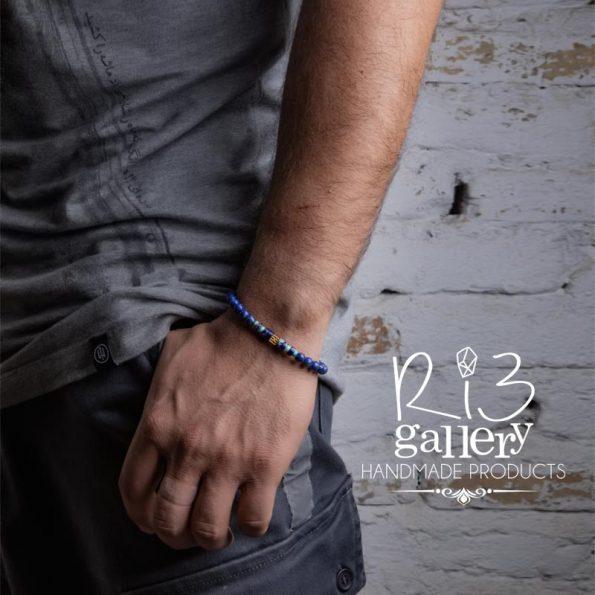 دستبند طلا مردانه لاجورد طرح فیوژن
