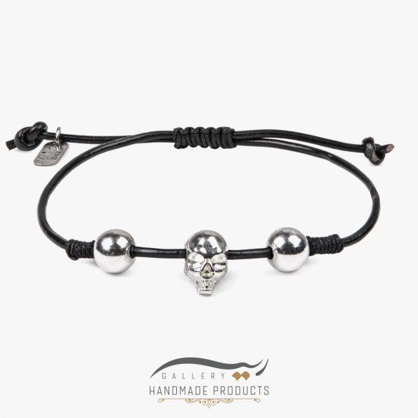 دستبند نقره مردانه جمجمه
