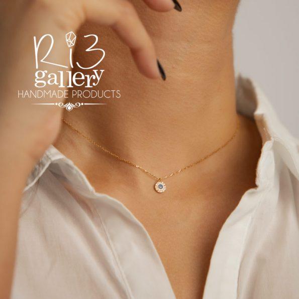 گردنبند طلا زنانه چشم نظر نگینی | چشم زخم | ریسه گالری