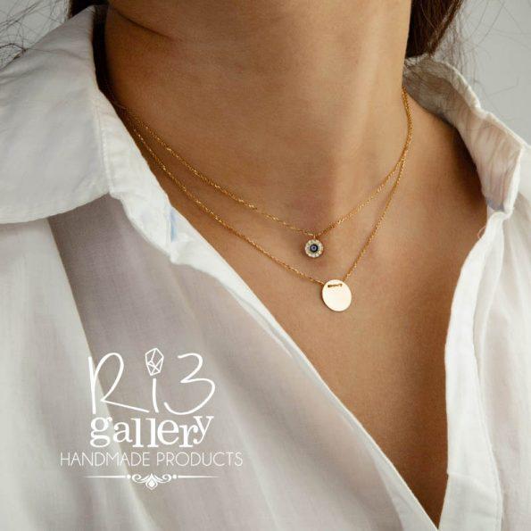 گردنبند طلا زنانه چشم نظر نگینی | فروشگاه اینترنتی زیورالات ریسه گالری