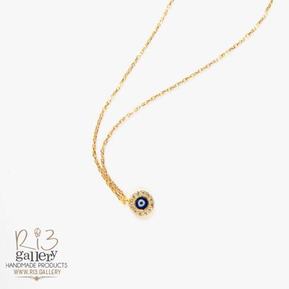 گردنبند طلا زنانه چشم نظر نگینی | نماد چشم نظر | ریسه گالری