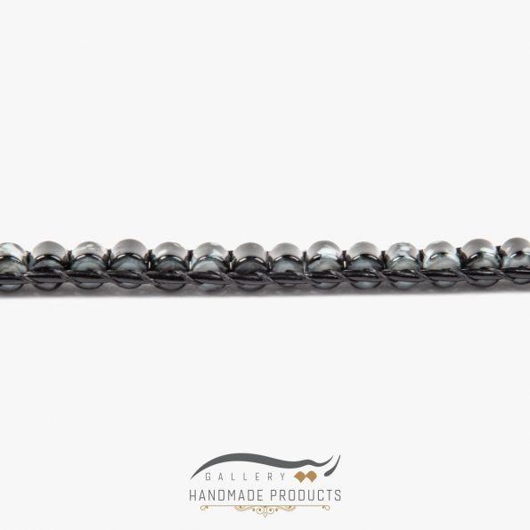 دستبند چرم مردانه جاسپر فروشگاه زیورآلات دست ساز ریسه گالری