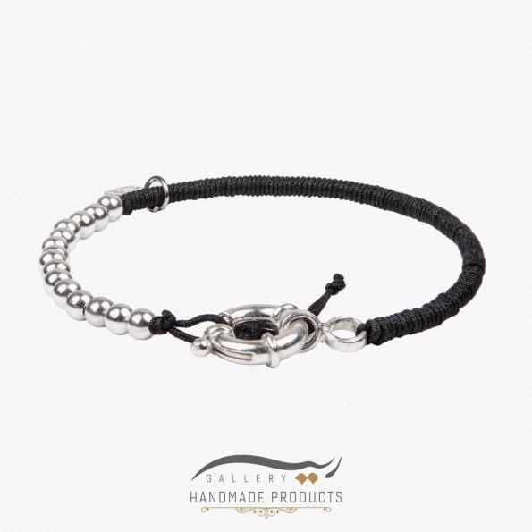 دستبند نقره مردانه ساچمه ای