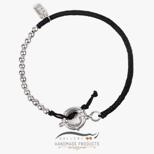 دستبند نقره مردانه ساچمه ای ریسه گالری