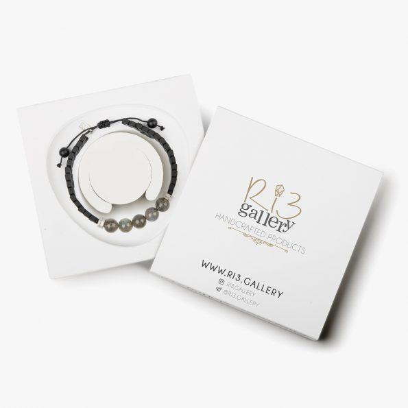 بسته بندی دستبند نقره مردانه لابرادورایت
