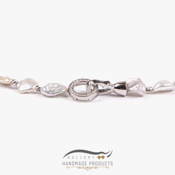 گردنبند طلا زنانه مروارید آدامسی فروشگاه زیورآلات دست ساز ریسه گالری
