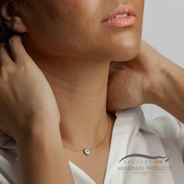 گردنبند طلا زنانه صدفی چشم نظر ریسه گالری