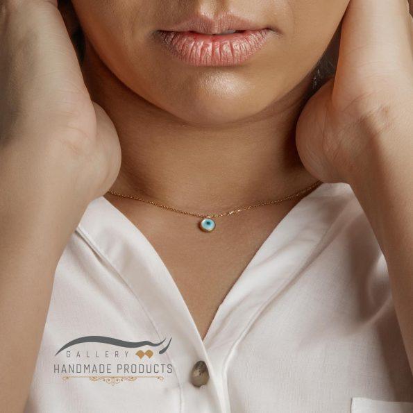 گردنبند طلا زنانه صدفی چشم نظر فروشگاه زیورآلات دست ساز ریسه گالری