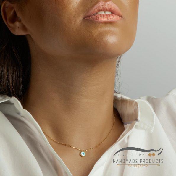 گردنبند طلا زنانه صدفی چشم نظر فروشگاه زیورآلات ریسه گالری