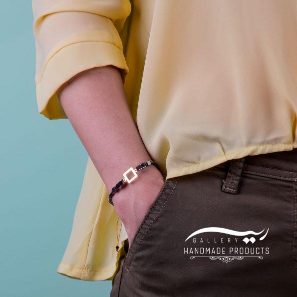 دستبند طلا زنانه چهار گوش ریسه گالری