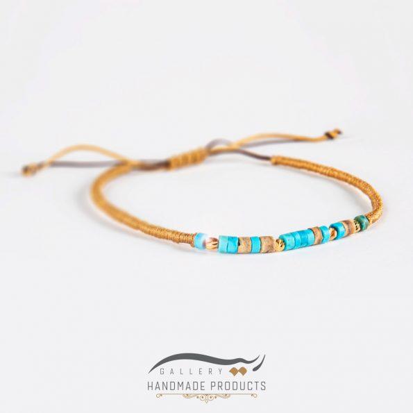 دستبند طلا زنانه بافت فیروزه فروشگاه اینترنتی ریسه گالری