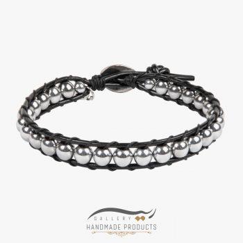 دستبند چرم مردانه حدید نقرهای