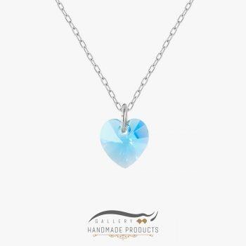 گردنبند نقره زنانه سواروسکی قلب آبی