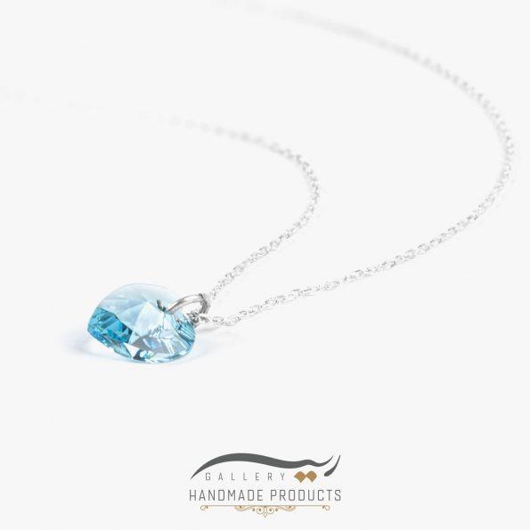 گردنبند نقره زنانه سواروسکی قلب آبی ریسه گالری