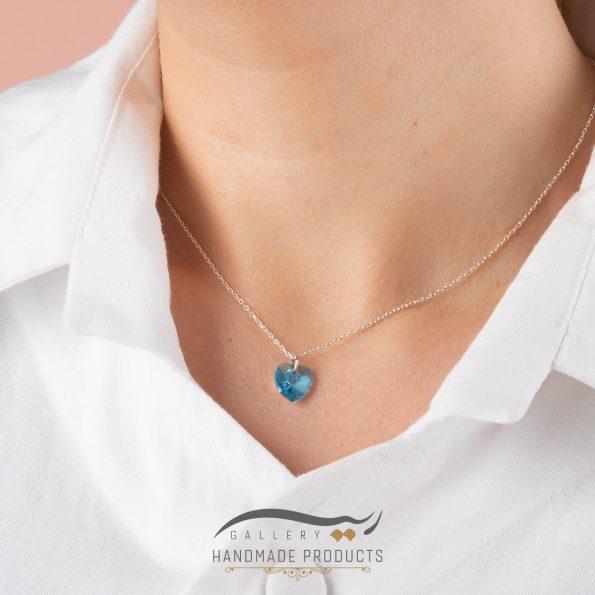 گردنبند نقره زنانه سواروسکی قلب آبی فروشگاه اینترنتی ریسه گالری